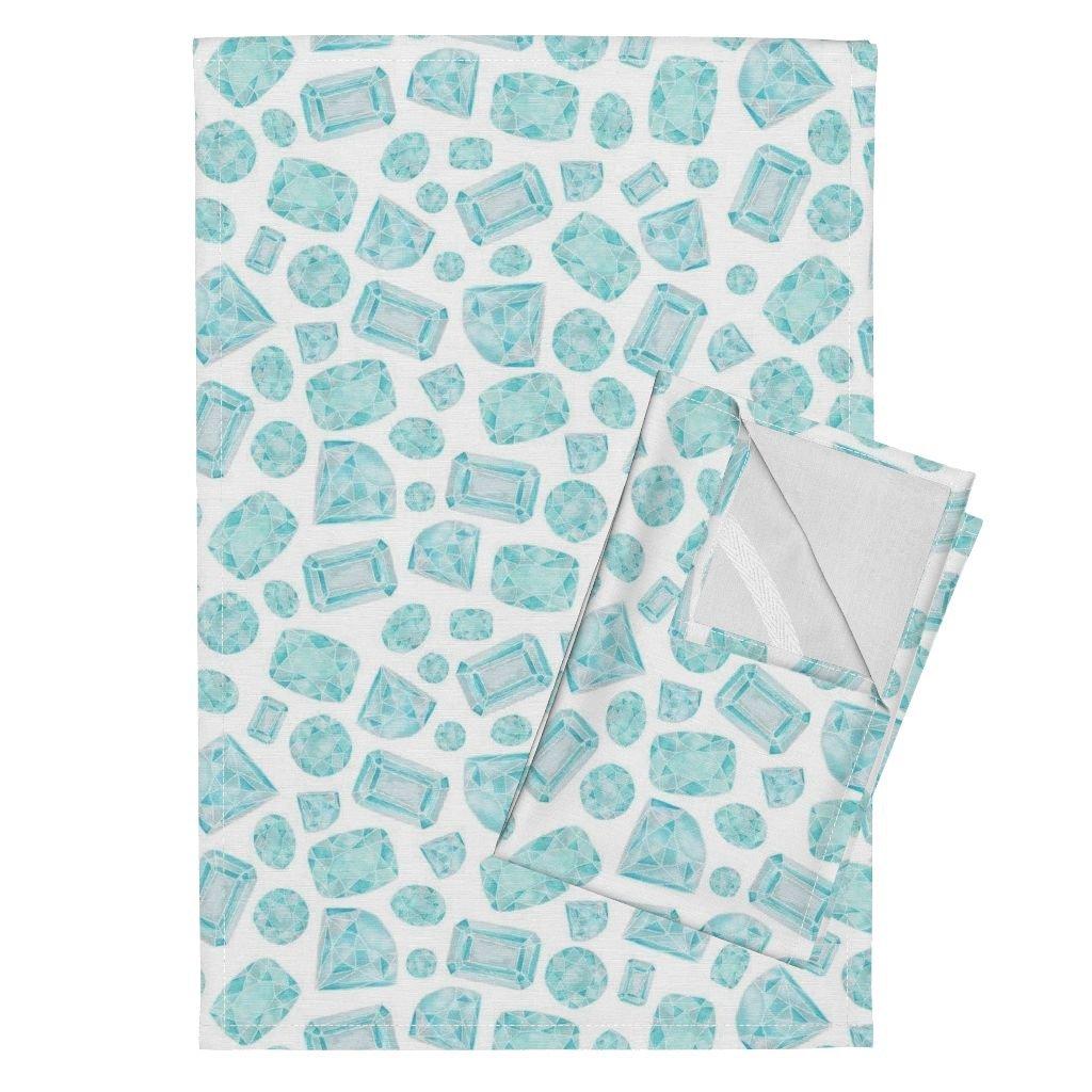 Amazon.com: Gem Tea Towels Bedazzled by Bubbledog Set of 2 Linen ...