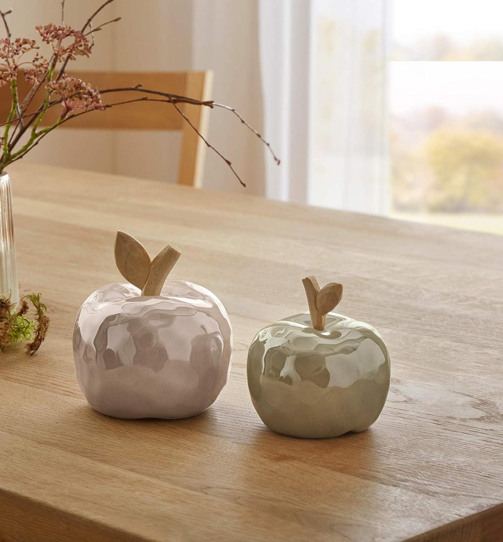 Dekoleidenschaft Juego de 2 Manzanas de Porcelana y Madera, Color Beige/Oliva, Fruta Decorativa, Manzana Decorativa: Amazon.es: Juguetes y juegos