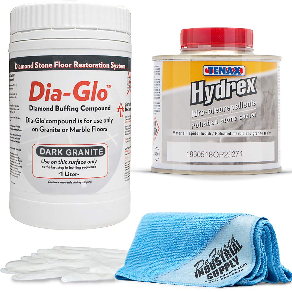 Dia-Glo (Diaglo) Dark Granite 1QT, Stone Granite Floor Polishing Compound - Tenax Hydrex 1/4 Liter - 16x16 Microfiber Cloth - Gloves - Bundle - 4 Items