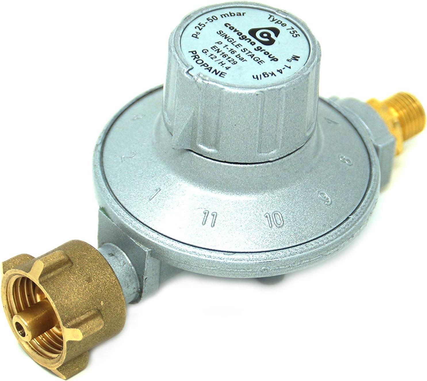 CAVAGNA Regulador de Baja presión 25-50mbar Regulador de presión de Gas Ajustable de 11 etapas para Parrilla de Gas, Calentador Radiante, Calentador Radiante para terraza, Olla