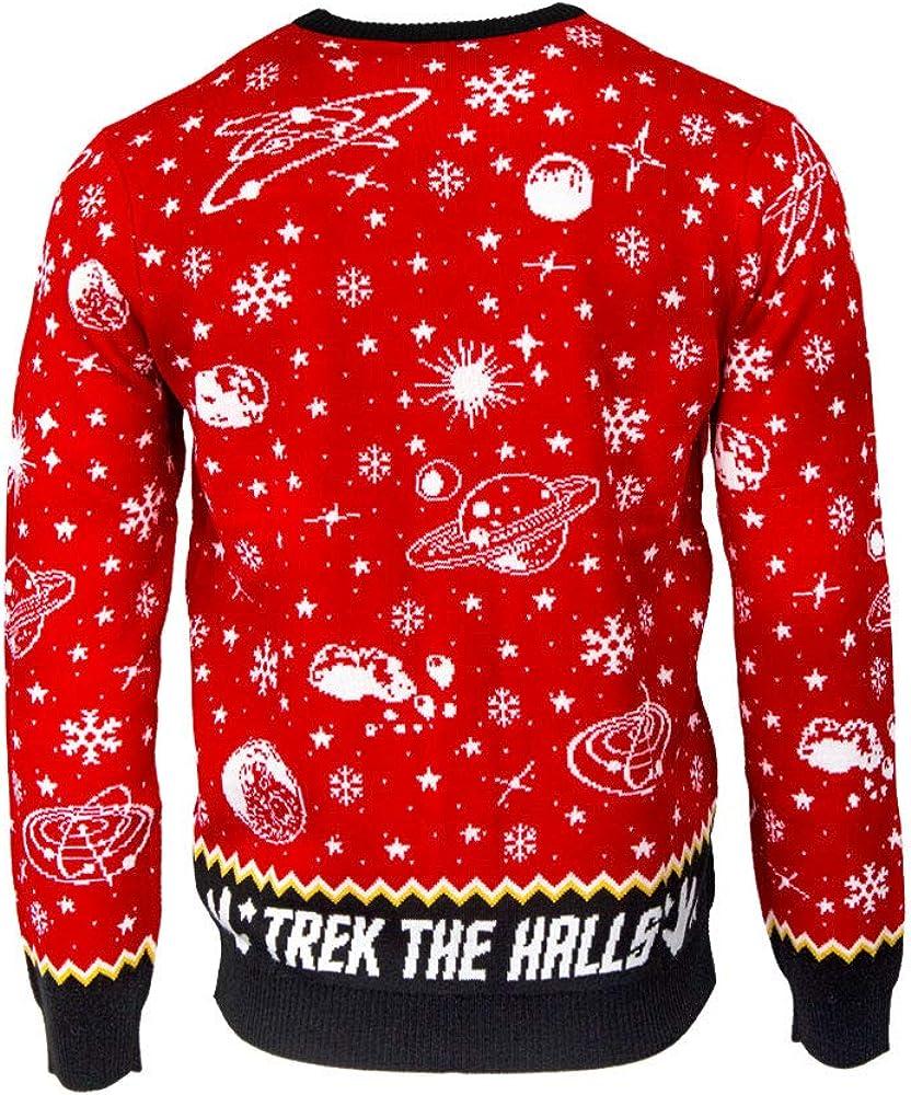 Numskull Unisex Official Star Trek Beam Me Up Santa Knitted Christmas Sweater for Men or Women Ugly Novelty Jumper Gift