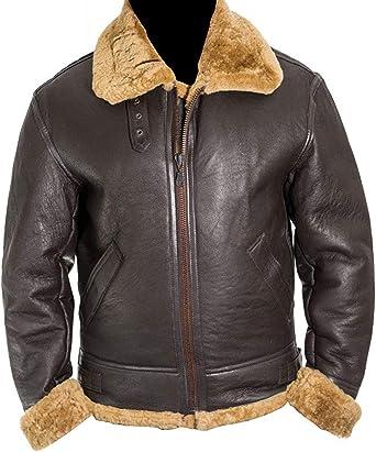 Dunkirk Brown Shearling leather jacket for men bane aviator Fur Bomber