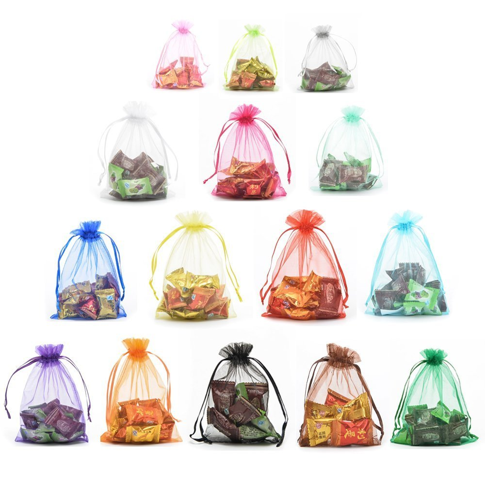 c123aed69108 Halulu 100pcs Organza Jewelry Pouch Bags Display Drawstring Wedding Party  Festival Gift Candy Bags (3