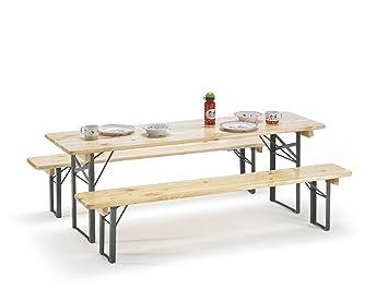 Traturio Ensemble Table Et Bancs Pliants Avec Protection De Sol 150