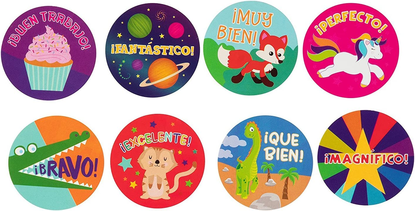Classroom Use 8 Designs 1.5 inches Diameter 1000-Count Spanish Encouragement Sticker Roll for Kids Reward Stickers Teachers Motivational Stickers with Cute Animals for Students