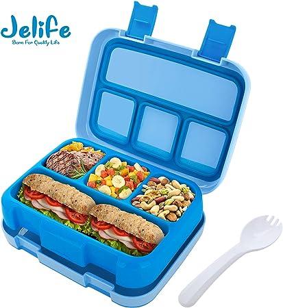 Jelife Fiambrera Infantil con 4 Compartimentos Fiambreras para ...