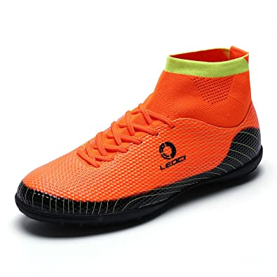 eb5d3c153 BADIER Kids Men for Soccer Shoes High Top Football Boots Indoor Outdoor  Athletic Turf Mundial Team