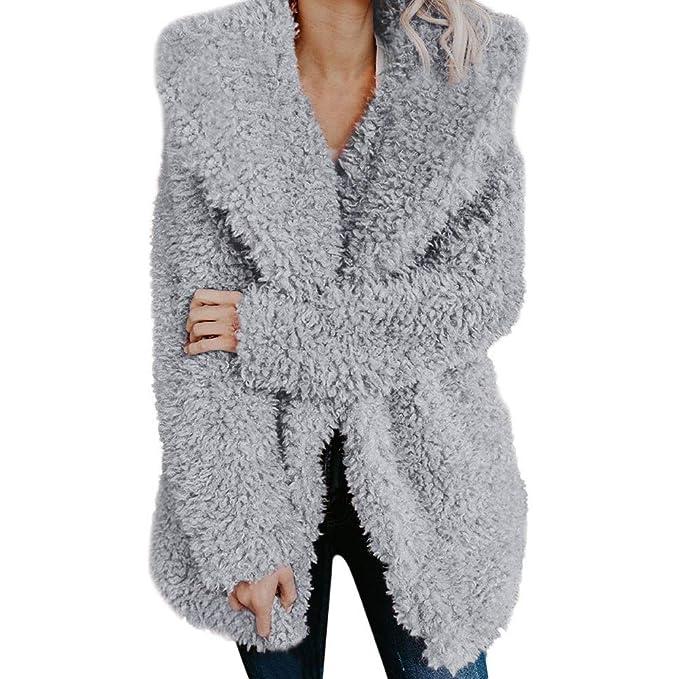 Amazon.com: Rucan Womens Ladies Warm Artificial Wool Coat Jacket Lapel Winter Outerwear: Sports & Outdoors