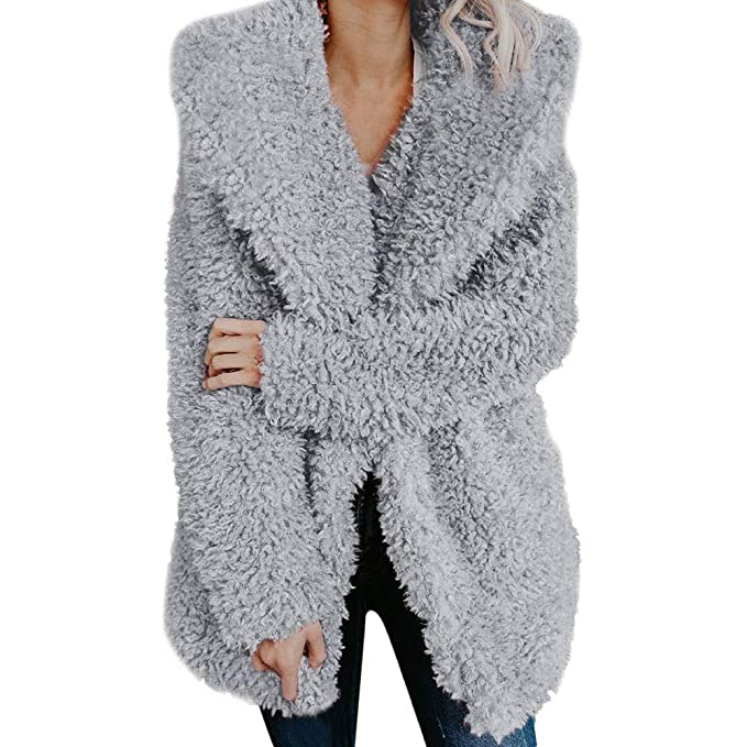Womens Fuzzy Winter Open Front Cardigan Sherpa Fleece Jacket Hooded Coat Outerwear at Amazon Womens Coats Shop