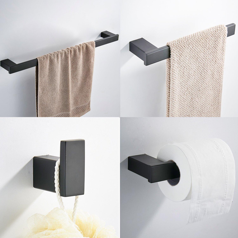 KOOLIFT Bathroom Square Towel Bar Holder Stainless Steel 4-Piece Bath Hardware Accessory Set with Towel Bar Toilet Paper Holder Towel Ring Robe Hook Wall Mount Hanger Rustproof Matte Black