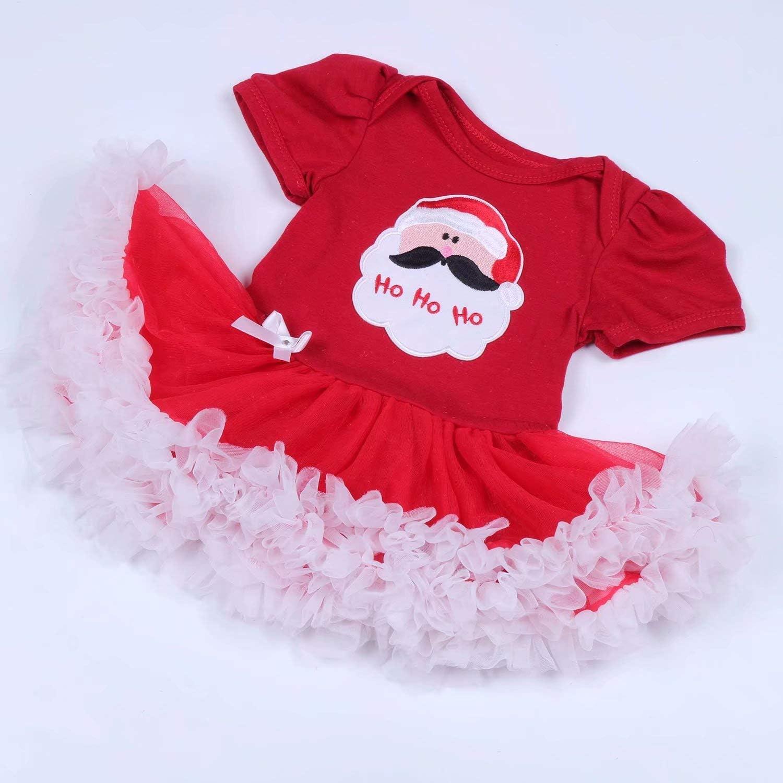 Leideur Baby Girls First Christmas Outit Set Santa Costume Tutu Dress 4PCS
