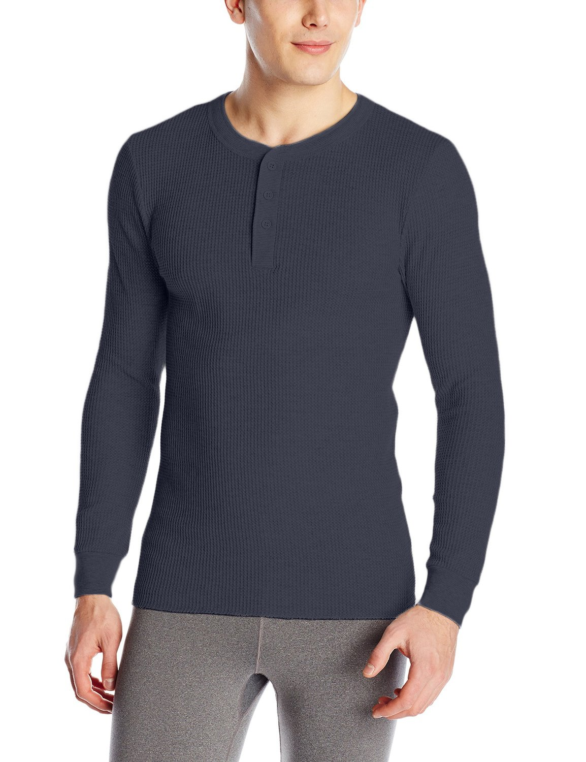 Fruit of the Loom Men's Classics Midweight Waffle Thermal Henley Top (Medium, Navy)