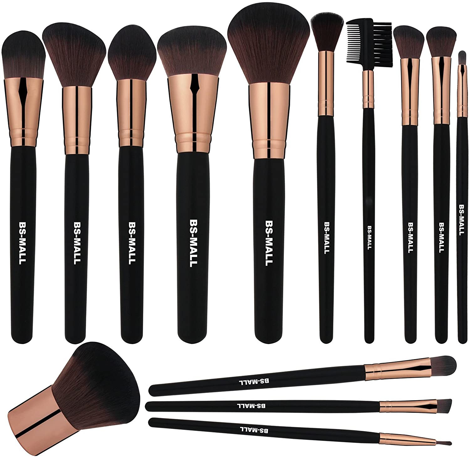 BS-MALL Premium Synthetic Kabuki Makeup brushes 2018 New Makeup Brush Set(14 Pcs,Rose Black)