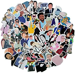 50Pcs Personality Face Celebrity Stickers for Laptop and Water Bottles,Waterproof Durable Trendy Vinyl Laptop Decal Stickers Pack for Teens, Water Bottles, Computer, Travel Case (No face Characters)