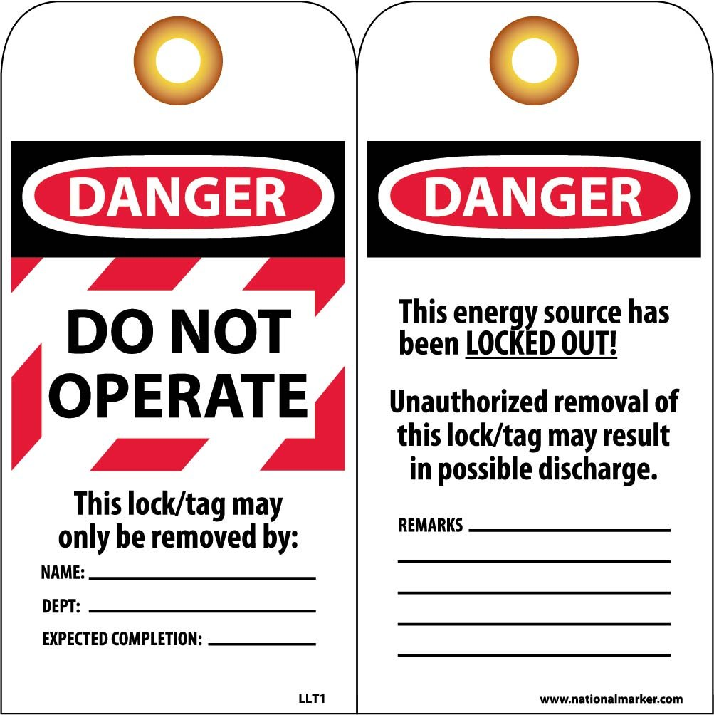 NMC LLT1 Laminated Lockout Tag, ''DANGER DO NOT OPERATE'', 3'' Width x 6'' Height, Vinyl, Red/Black on White (Pack of 25) by NMC
