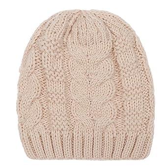 Moonuy Bonnet Chaud tressé avec Pompon Unisexe Pompon en Fausse Fourrure  Bonnet tricoté et doublé pour bd2bbb92b8d