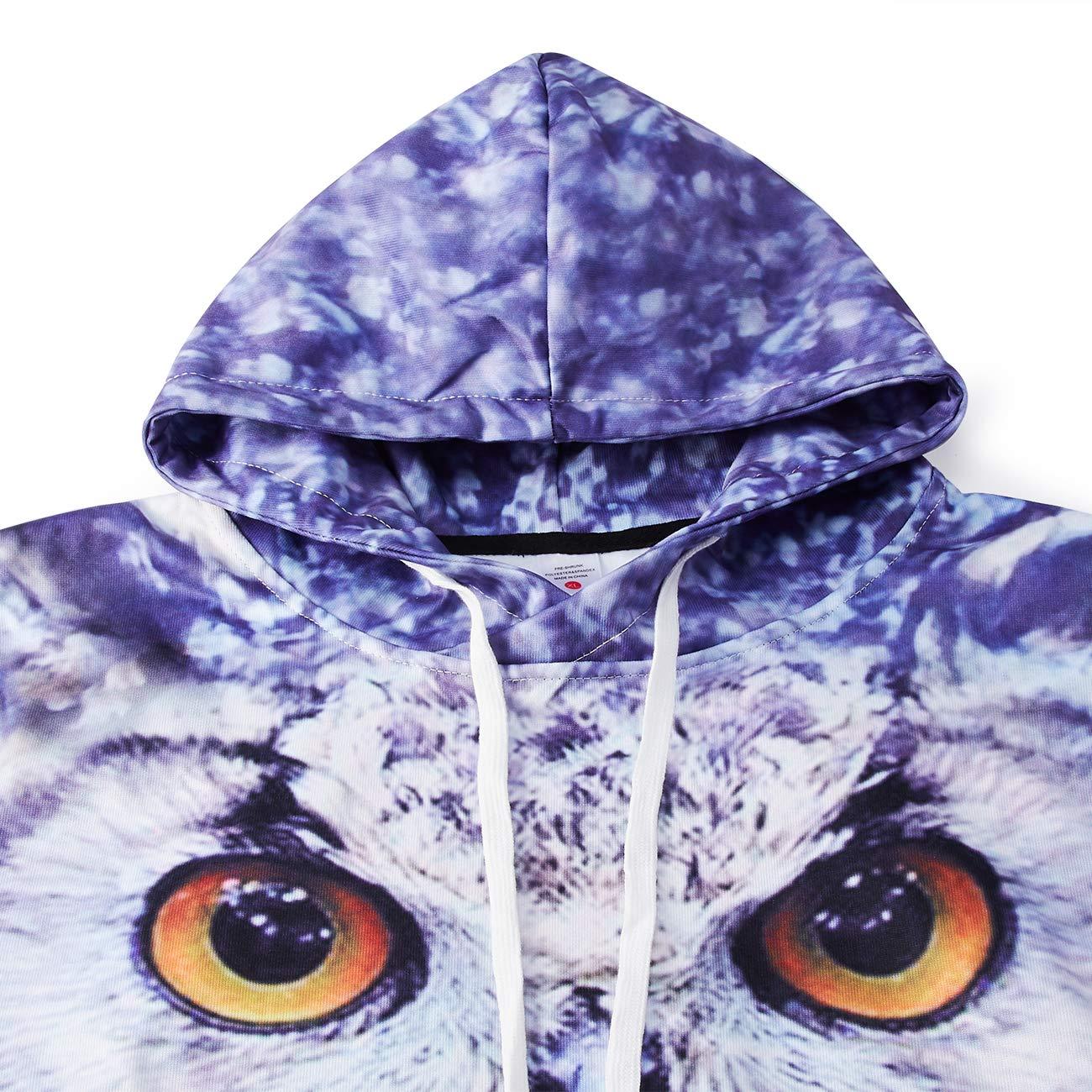 RAISEVERN Unisex Paar tragen Digitale Eulen 3D gedruckt Hooded Sweatshirt Casual Pullover Hoodies mit großer Tasche braun