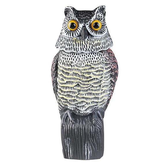 JOYEUX Búho anti aves accionado por viento Escultura de búho para ...