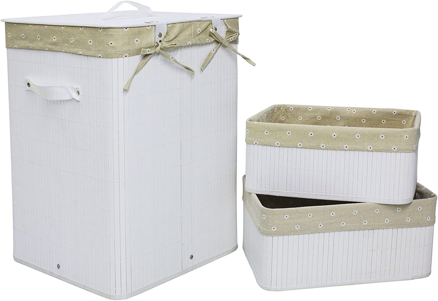 Set of 3 Laundry Hampers Bamboo Square Wicker Clothes Bin Baskets Storage Bin Organizers Retail Dump Bin 100209