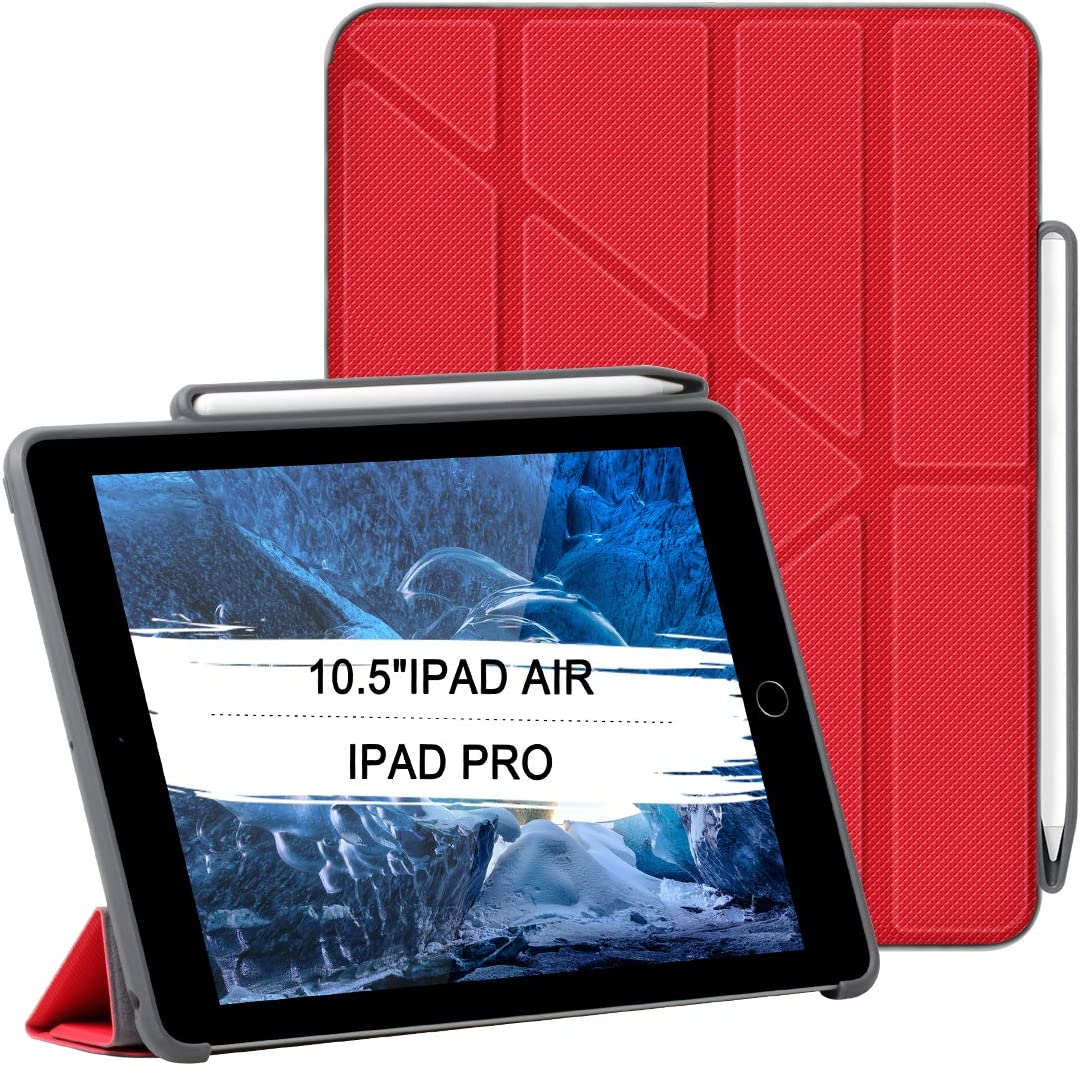"""Hybrid Case for 10.5"""" iPad Air 3,2017 iPad Pro Premium PU Leather Screen Protector Shock Absorbent Edge Build-in Apple Touch Pen Slot, Sleep/Wake Cover, Vertical Horizontal View (red)"""