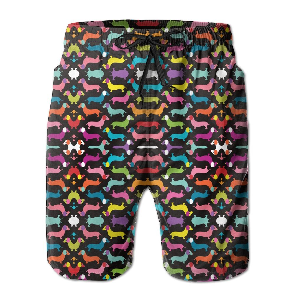 Men's Dachshund Cute Puppy Dog Colorful Quick Dry Lightweight Fashion Board Shorts Swim Trunks M by COOA