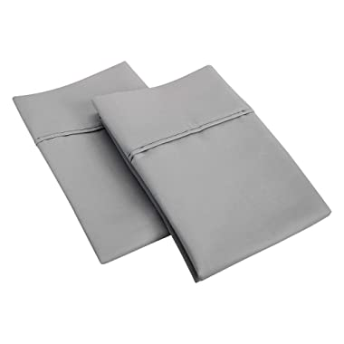 SGI bedding 1000 Thread Count 100% Egyptian Cotton King Size Pillowcase 20X40 Light Grey Solid (Pack of 2)