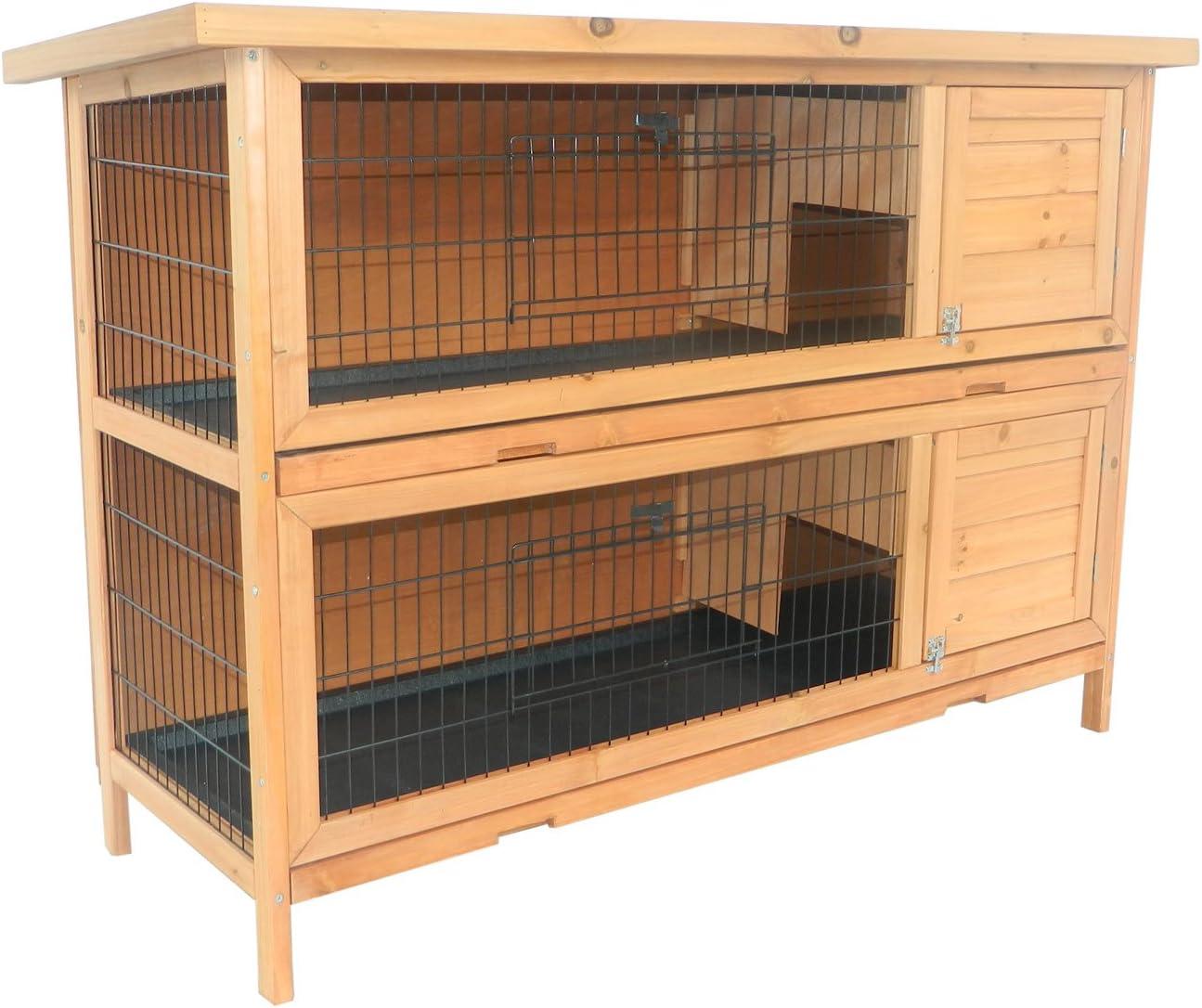 Pawhut Conejera Madera de Exterior Jaula para Conejo Cobaya 2 Niveles Bandeja Extraíble 136.4x50x93cm Casa para Animal Pequeño