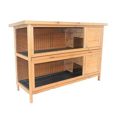 PawHut Conejera Madera de Exterior Jaula para Conejo Cobaya 2 Niveles Bandeja Extraíble Casa para Animal