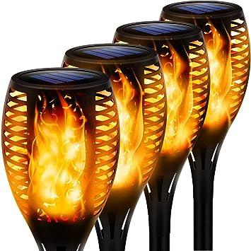 Luces Led Solares para Exteriores 4 Paquetes Llama Solar Luces Lámpara Antorcha Solares de Llamas Jardín Efecto de Llama Realista para Patio, Césped, Pasillo[Clase de eficiencia energética A++]: Amazon.es: Iluminación