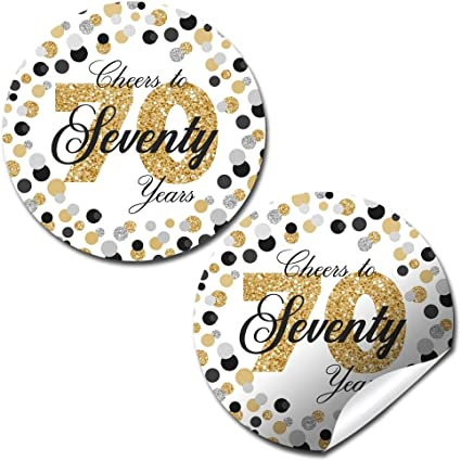 2 Round 50 Pack of Cheers to 70 Years Label Stickers Birthday Party Sticker Labels 70th Birthday Party Favor Stickers 70th Birthday Party Decoration