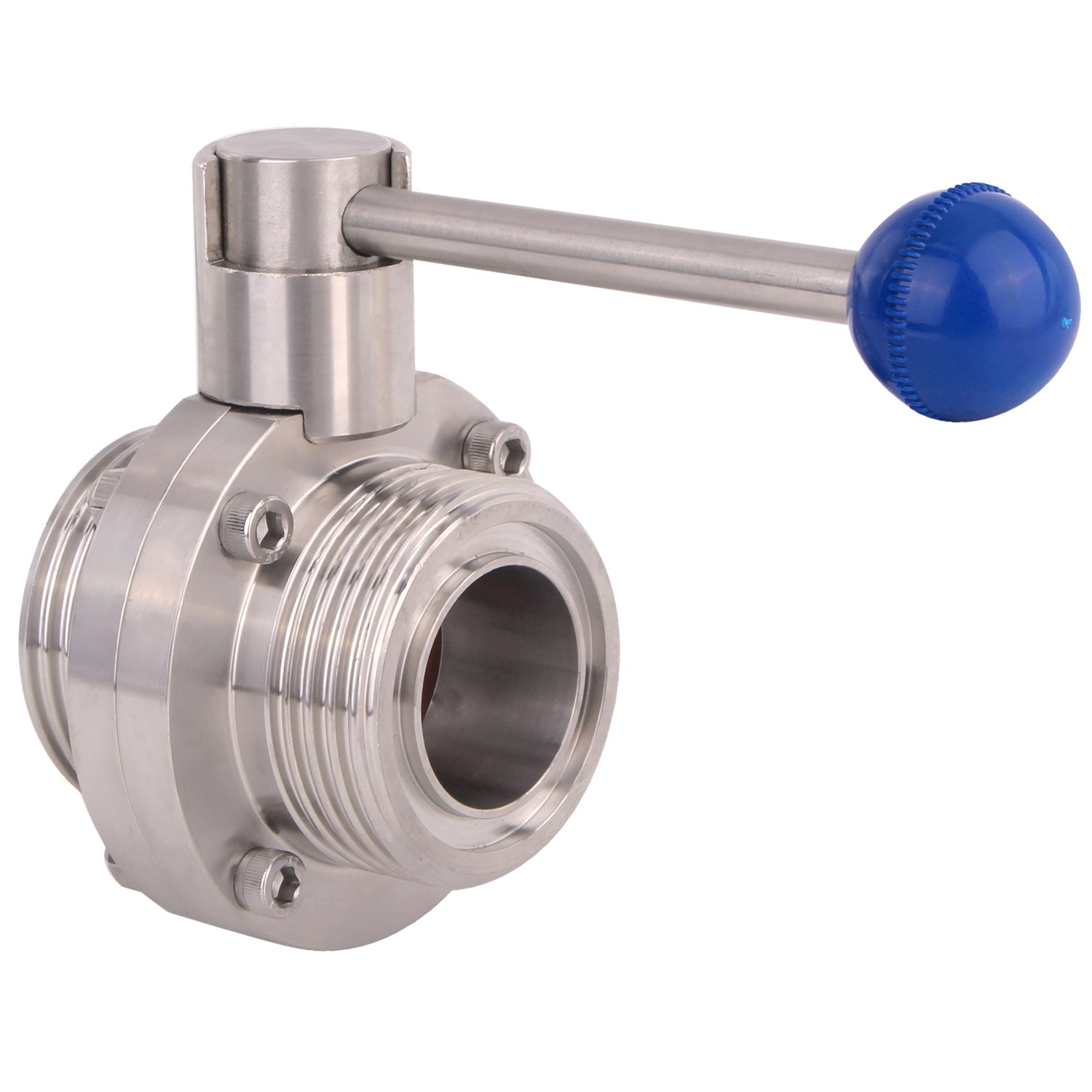 DERNORD Butterfly Valve with Pull Handle Stainless Steel 304 Sanitary Tri Clamp Clover 2 Inch SMS Threaded Type