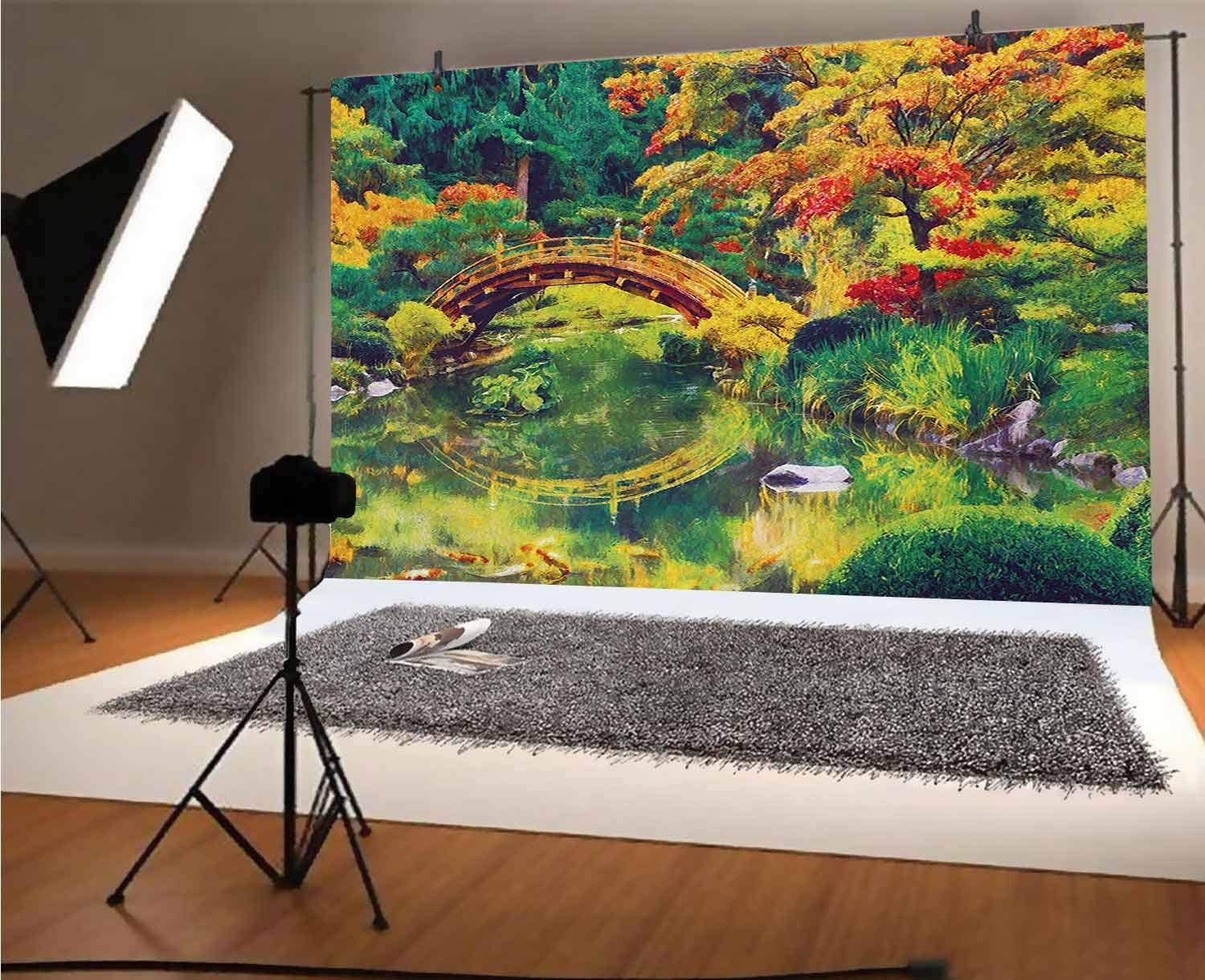 Country 10x8 FT Vinyl Photography Backdrop,Fairy Image of a Japanese Garden with an Old Ancient Bridge The Lake Nature Print Background for Photo Backdrop Baby Newborn Photo Studio Props