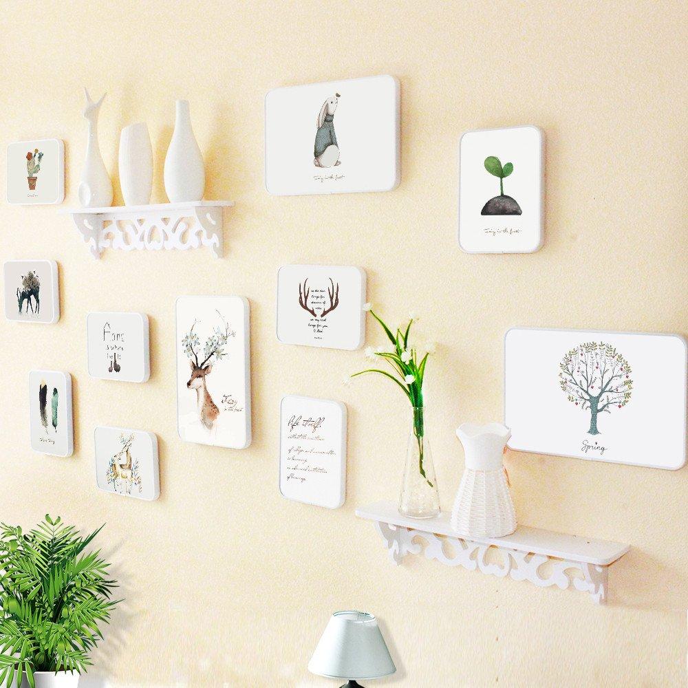 Bilderrahmen Wanddekoration Wohnzimmer Wand Foto rahmen kreative Kombination von integrierten Regal, 1.