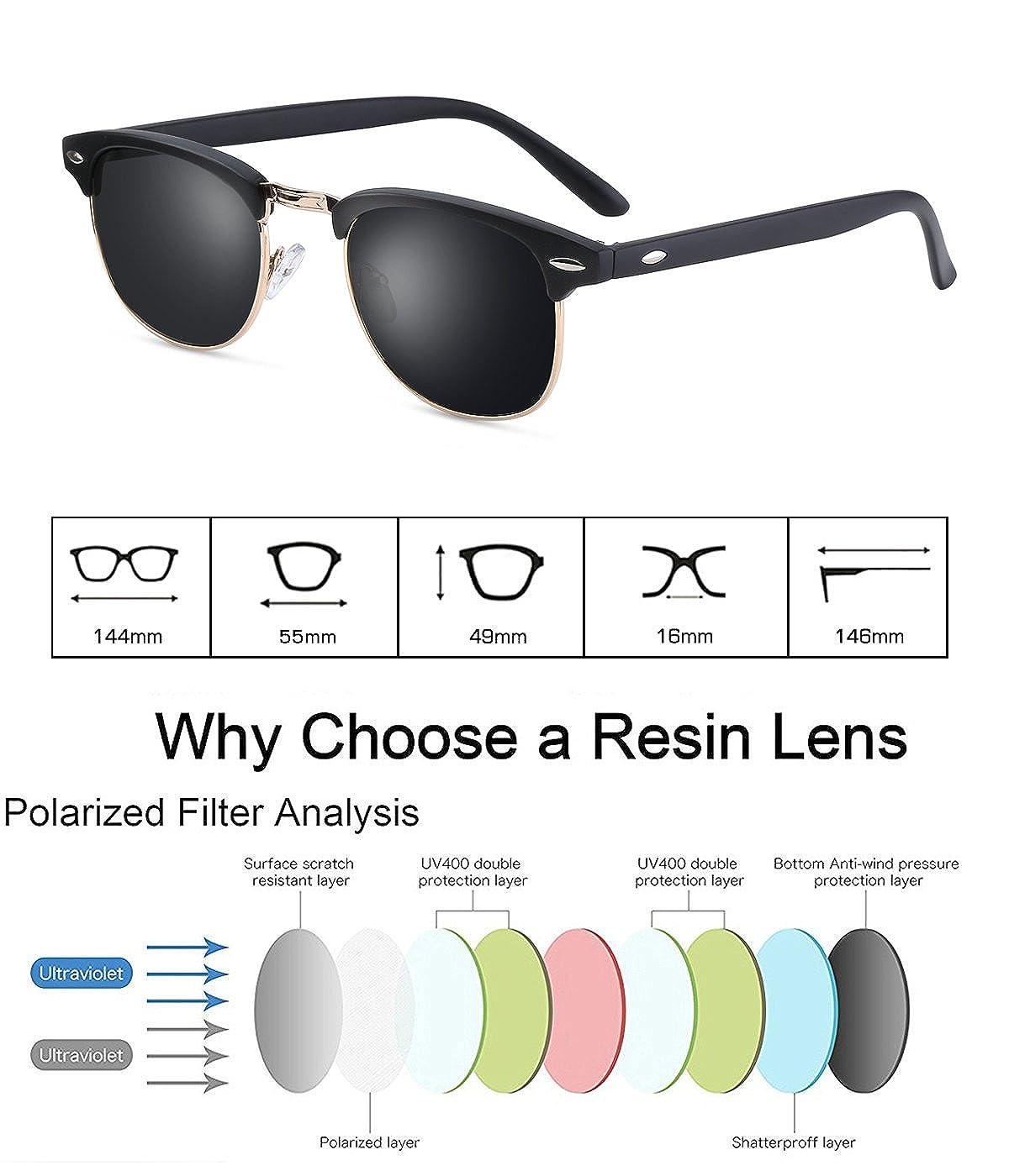 6bfd2d1bb7 Amazon.com  Clubmaster Sunglasses for Men Women - wearpro Retro  Semi-Rimless Polarized Sun Glasses WP1006 (Black Matte2