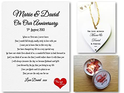 Personalised Anniversary Romantic Scroll - (A5)  Love Letter - Complete  with Candle, Heart Tag & Organza Bag  Suitable for Anniversary, Birthday,