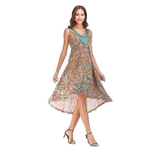 571373028924 OneWorld Women's V-Neck Sleeveless High Low Boho Floral Print A Line Swing Midi  Dress