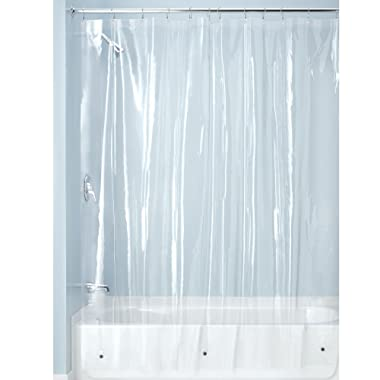 iDesign Plastic Shower Curtain Liner, Mold and Mildew Resistant Plastic Shower Curtain for use Alone or With Fabric Curtain, 72 in. x 72 in., Clear