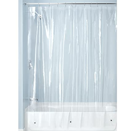 InterDesign PEVA Plastic Shower Bath Liner Mold And Mildew Resistant For Use Alone Or With