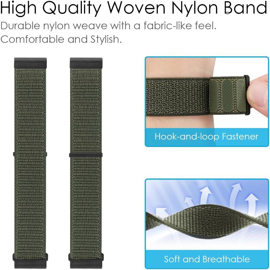 Bande de Remplacement Ajustable en Nylon Tiss/é avec Fermoir R/églable FINTIE Bracelet pour Garmin Fenix 3//Fenix 3 HR//Fenix 5X Olive
