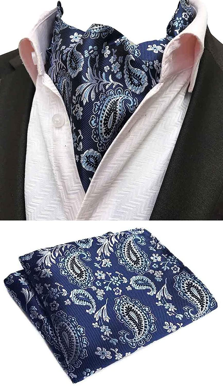 41761578bb61 Clothing, Shoes & Jewelry Ties, Cummerbunds & Pocket Squares MOHSLEE Mens  Luxury Paisley 3 Pack Cravat Silk Ascot Scarf Tie Pocket Square Set SJ017