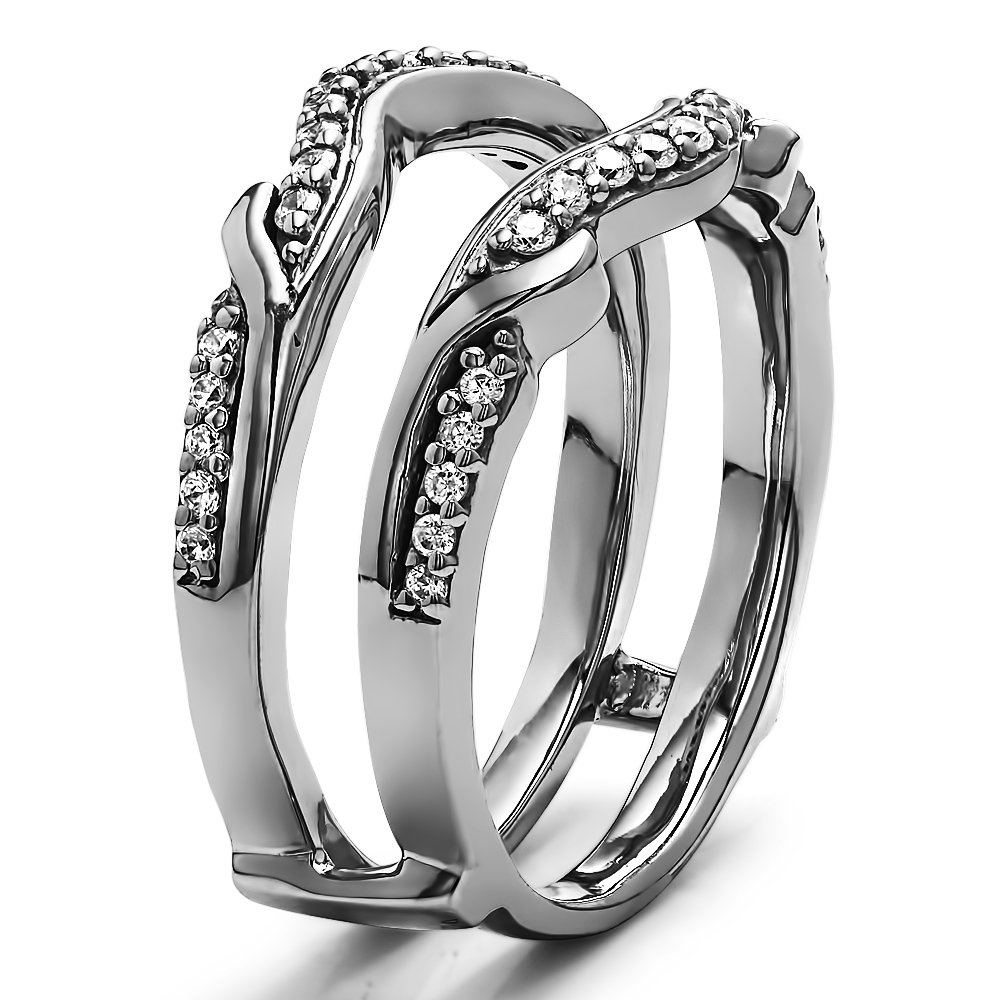 TwoBirch 0.26 Ct G,I2 Contoured Leaf Wedding Ring Jacket in Sterling Silver with Diamonds