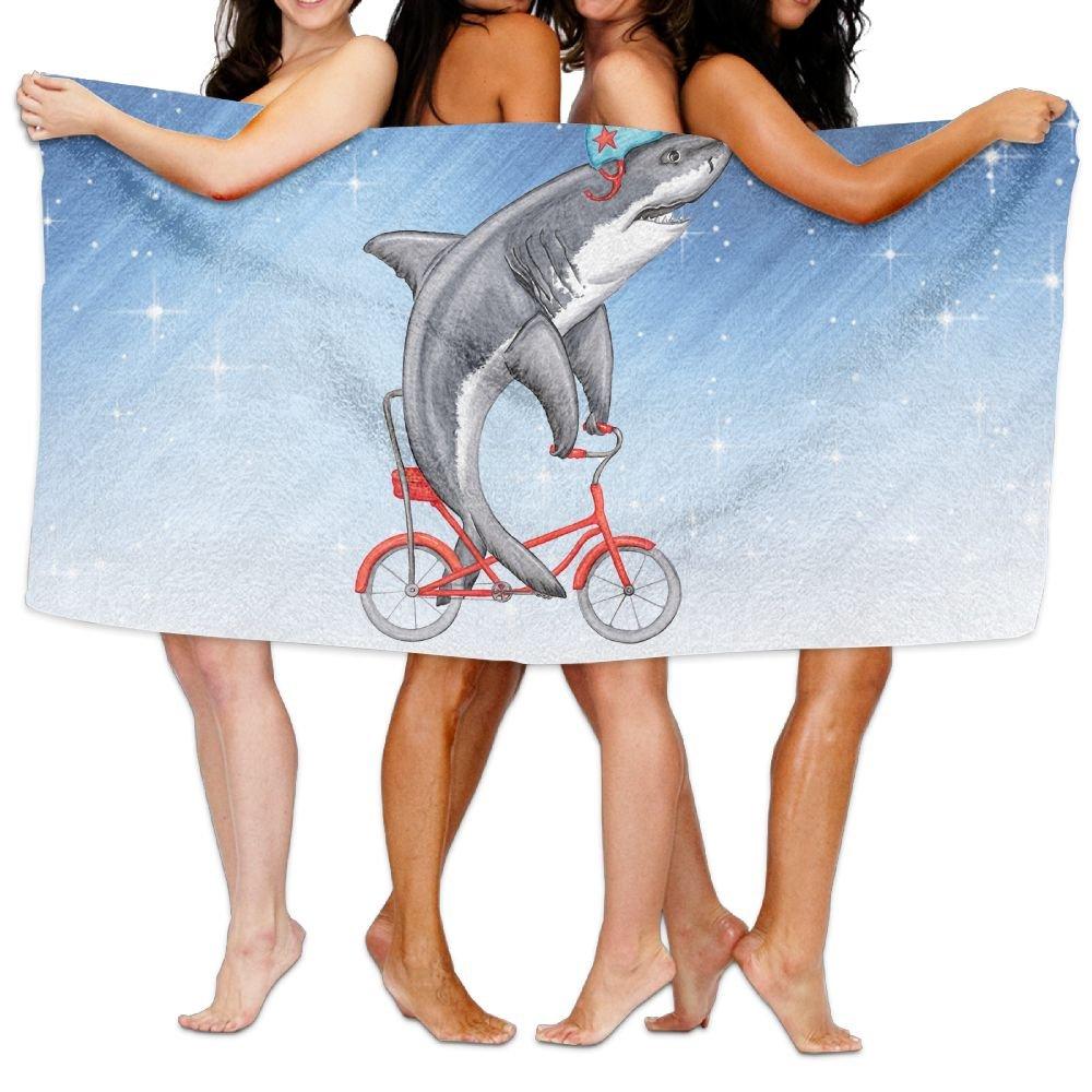 Shenigon Bath Towel, Cute Shark On Bike Lightweight Large Swim Beach Towels
