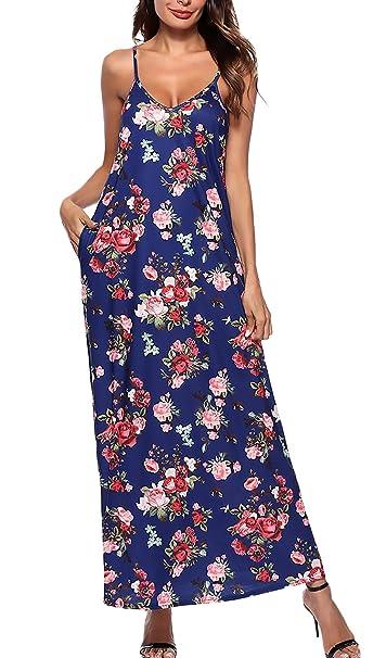 Vestidos Mujer Verano Elegante Sling V Cuello Sin Tirantes Espalda Descubierta Vestidos Maxi Floreadas Moda Vintage