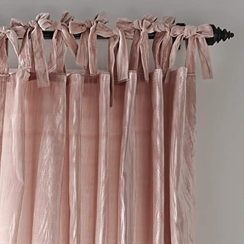 Elrene Home Fashions Korena Tie-Top Crushed Velvet Window Curtain Panel, 52 x 95 1, Blush