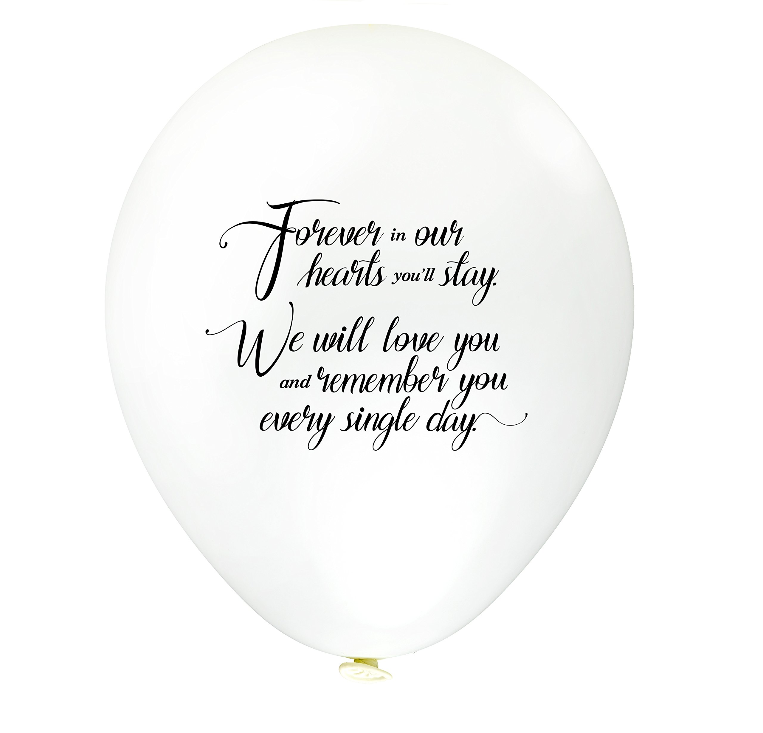 30pk White Remembrance Bereavement Memorial Funeral Biodegradable Helium Quality for Balloon Releases – Personalised'' Forever in Our Hearts You'll Stay, We Will Love.'' – by TOKYO SATURDAY