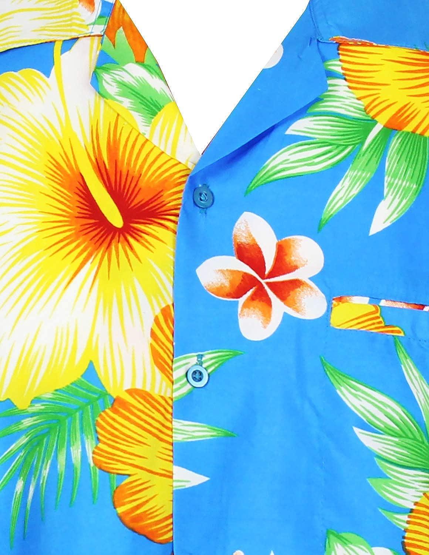 Funky Hawaiian Shirt Men Short-Sleeve Front-Pocket Paradise Flowers Multiple Colors