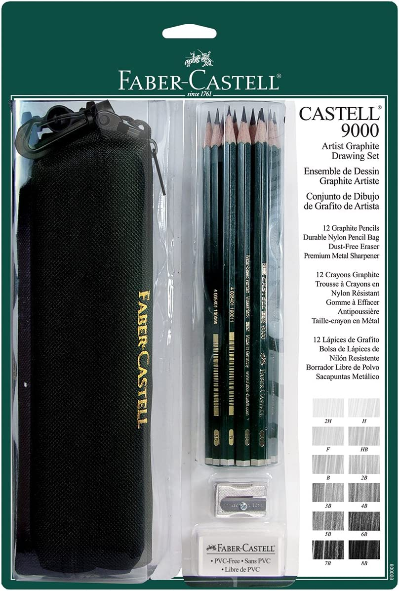 Faber-Castell 9000 Artist Graphite Drawing Set with Bag Set of 12
