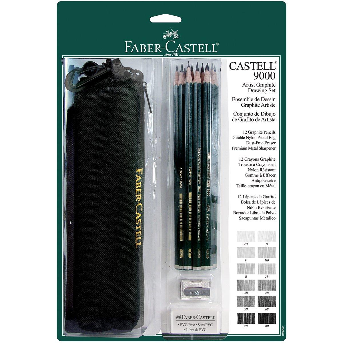 Faber-Castel FC800028 Castell 9000 15 Piece Graphite Pencil Set with Bag, Black