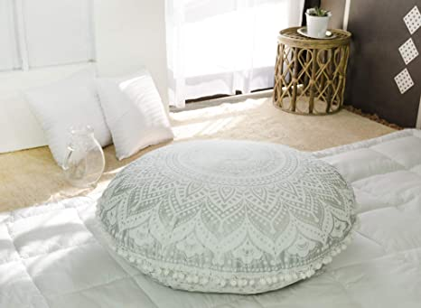 WAQIA Round Floor Cushions Pillow,Round Velvet Throw Pillow,Meditation Cushion Pumpkin Couch Cushion for Home Bed Sofa Car Decor Floor Pillow Cushion