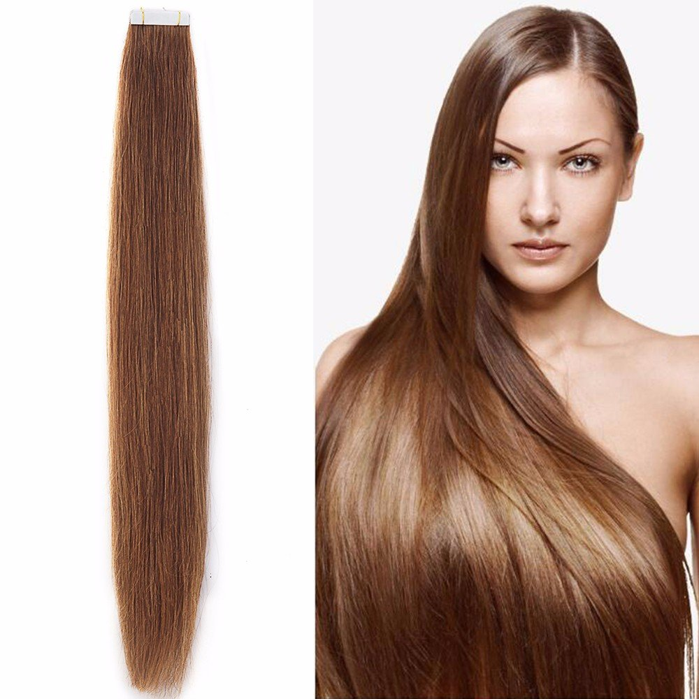 Extensiones cinta adhesiva de pelo natural - 50cm - 20piezas - Tape in Remy Hair Extensions - #06 Marrón claro: Amazon.es: Belleza
